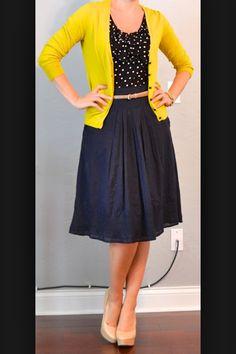 Yellow, polka dots, a-line skirt