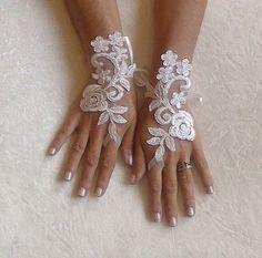Avorio nozze guanti guanti da sposa pizzo guanti di GlovesByJana
