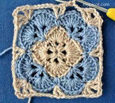 Transcendent Crochet a Solid Granny Square Ideas. Inconceivable Crochet a Solid Granny Square Ideas. Crochet Square Blanket, Crochet Motifs, Crochet Blocks, Granny Square Crochet Pattern, Crochet Stitches Patterns, Crochet Squares, Crochet Granny, Crochet Designs, Free Crochet