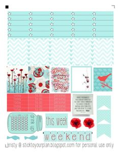 stick to your plan, free printable for personal use only - fits erin condren life planner To Do Planner, Free Planner, Erin Condren Life Planner, Planner Pages, Happy Planner, Planner Ideas, Printable Planner Stickers, Free Printable, Stickers Cool