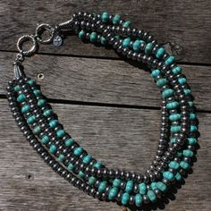 The Texas Cowgirl - Turquoise & Silver Western 4 Strand Necklace