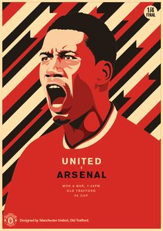 """There's an FA Cup semi-final spot up for grabs tonight at Old Trafford as face Arsenal GMT). Come on! Football Love, Football Design, Manchester United Poster, United Games, Pop Art Design, Graphic Design, Football Wallpaper, Old Trafford, Fa Cup"