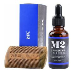 2 in 1 Beard Grooming & Conditioner Set Kit 4 Men On Hand! Authentic Sandalwood Beard Comb with Beard Oil 2 in 1 Beard Grooming & Conditioner Set Kit for Men by M2. Best Beard Care makes perfect gift Wood Comb and Oil with Vitamin E Aloe Vera  and Jojoba. Other