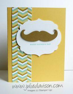 Stampin' Up! Father's Day Mustache Framelit Card #stampinup #masculine #fathersday www.juliedavison.com