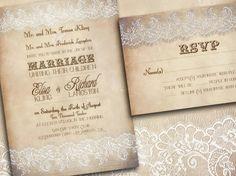 Printable LACE WEDDING INVITATIONS Vintage - Indianapolis Suite