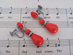 Vintage Christmas Earrings 1960's Red Lucite by ThirstyOwlVintage, $14.50