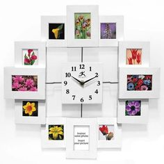 Infinity Instruments Time Capsule is a modern designed picture framed collage wall clock. A beautiful white frame design this clock will allow you to put a personal touch to your home accents.