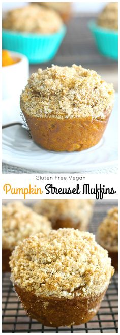 Gluten Free Pumpkin Streusel Muffins (vegan) Delicious pumpkin muffins with crumbly bakery topping Gluten Free Muffins, Gluten Free Sweets, Vegan Sweets, Vegan Gluten Free, Vegan Desserts, Gluten Free Pumpkin, Vegan Pumpkin, Pumpkin Recipes, Dairy Free Eggs