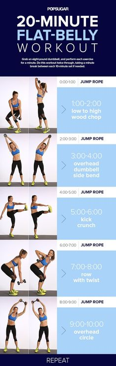 Day 6: 20-Minute Flat-Belly Workout 20 Min Ab Workout, Jump Rope Workout, Standing Abs Workout, Abs And Cardio Workout, Ab Workout With Dumbells, Ab Workouts With Weights, Dumbbell Only Workout, Strength Workout, Cardio Abs