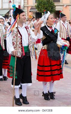 Traditional fiesta at Villaviciosa in Asturias, Northern Spain Stock Photo Folk Costume, Costumes, Spanish Costume, Asturias Spain, Spain Culture, Folk Clothing, Folk Dance, Character Outfits, Ethnic Fashion