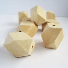 10 natural unfinished wooden geometric polygon faceted beads - 19x27mm