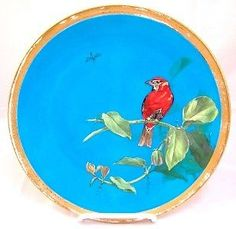 Early-Minton-Majolica-Porcelain-Blue-Birds-Plate