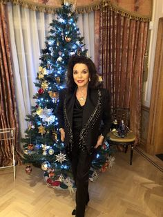 """""""Outfit 9 for Gianni Versace gave me this beautiful jacket when I was in Milan for his fashion show and I just resurrected it from the attic! V Drama, The Jonathan Ross Show, Dame Joan Collins, Christmas Challenge, New York Street, Gianni Versace, Her Style, Pink Dress, Fashion Show"""