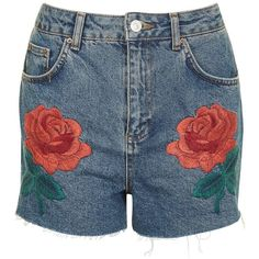 TopShop Moto Rose Embroidered Shorts (€58) ❤ liked on Polyvore featuring shorts, high rise shorts, topshop shorts, high-waisted shorts, high-rise shorts and high waisted shorts