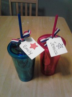 Our these together for AHG awards ceremony.  Badges earned are in cup.  Got cup at dollar tree and ribbon at Walmart.  Made tag with creative memories tag punch.