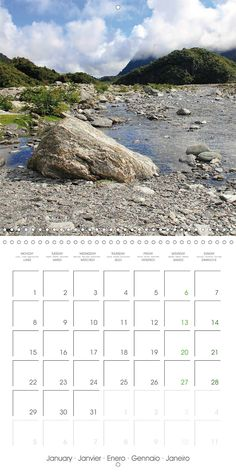 "Reisekalender mit Planer ""New Zealand – Variety of the South Island"", Kalenderblatt Januar: Franz Josef Glacier Walk"