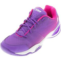 PRINCE Women`s T22 Lite Hard Court Tennis Shoes Purple and Pink ($99) ❤ liked on Polyvore featuring shoes, purple shoes, tenny shoes, purple tennis shoes, pink shoes and sneakers tennis shoes