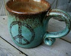Want this for my coffee cup collection PEACE Coffee Mug Aquamarine Flower Hippie Peace by CropCircleClay Hippie Peace, Happy Hippie, Hippie Love, Hippie Chick, Hippie Style, Hippie Things, Hippie Gypsy, Boho Style, Peace Coffee