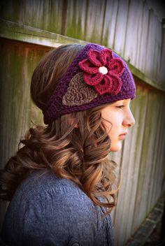 Purple Crochet Earwarmer with golden jewel.