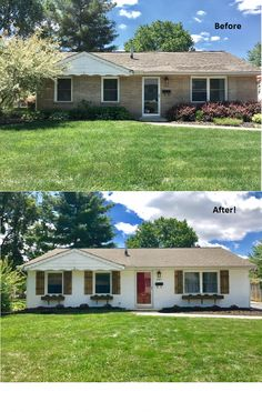 Before and after pictures of our ranch home! Curb appeal on a budget 🙂 Before and after pictures of our ranch home! Curb appeal on. Ranch Exterior, Exterior Remodel, Exterior Paint, Exterior Colors, Cottage Exterior, Fixer Upper, Home Exterior Makeover, Ranch Remodel, Farmhouse Remodel
