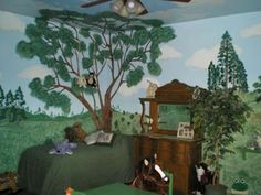 A Cozy Corner in our Babys Woodland Wonderland Nursery Theme: I couldnt imagine a more wonderful room than Woodland Nursery Theme for my babys room.  I wanted to bring a forest wonderland with rolling hills, a lake,