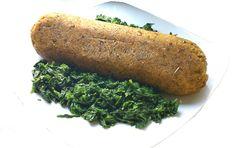 Polpettone di pane e lenticchie su letto di spinaci