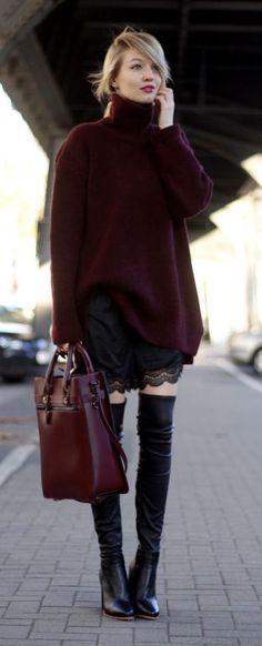 #fall #fashion / burgundy turtleneck knit