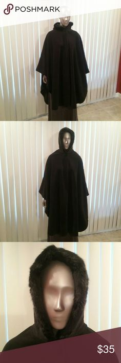 NWT Heavy Weight Fleece Cape w/Faux Fur Lined Hood This is a must have item, dress it up or down...you'll always be warm. Mixit Jackets & Coats Capes