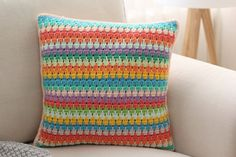 Rainbow Crochet Pillow Multi Color Crocheted Cushion by deconoHut