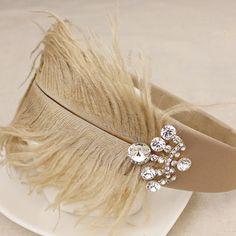feather and crystal embellished headband