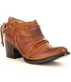 Freebird Sandi Leather Scrunchy Block Heel Booties #Dillards