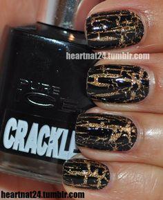 black & gold crackle #nails