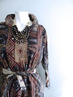 vintage.  Indonesian Batik Dark Print Dress / Cotton Dress // 1970s dress // S M L. $48.25, via Etsy.