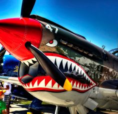 Fresh shark paint on this old plane. Ww2 Aircraft, Fighter Aircraft, Military Aircraft, Fighter Jets, Military Jets, Aircraft Images, Aircraft Carrier, Skyteam Ace, Shark Painting
