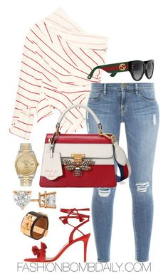 """Untitled #2055"" by dnicoleg ❤ liked on Polyvore featuring A.W.A.K.E., Frame, Allurez, Gianvito Rossi, Gucci, Rolex and Hermès"