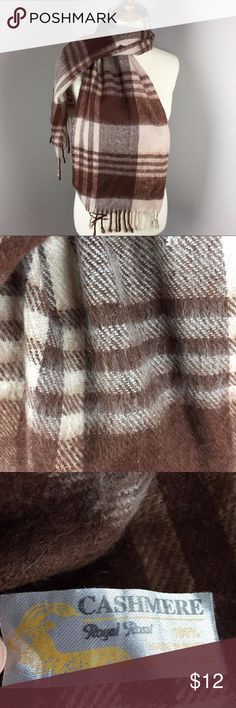 Royal Rossi 100% Cashmere Scarf Brown Plaid In great shape!  Comes from a smoke-free and pet-free home. Royal Rossi Accessories Scarves & Wraps