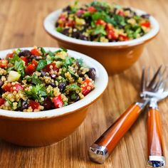Southwestern Quinoa Salad with Black Beans, Red Bell Pepper, Green Onions and Cilantro (Olive Oil, Red Wine Vinegar, Salt for the dressing)