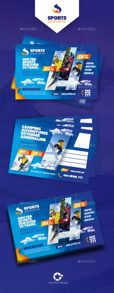 Winter Adventure Postcard Design Templates - Cards & Invites Print Design Template PSD, InDesign INDD. Download here: https://graphicriver.net/item/winter-adventure-postcard-templates/19397363?ref=yinkira