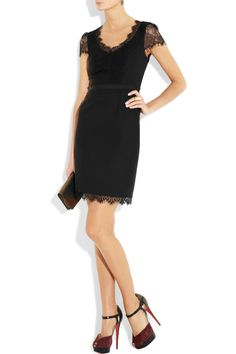 Rebecca Taylor Lace and Stretchcrepe Dress in Black | Lyst