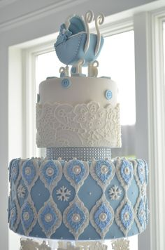 Nice Blue Winter Wonderland Cake For Boyu0027s Baby Shower With Gumpaste Baby  Carriage, Sugar Snowflakes,
