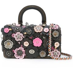 Coach flower embellished tote (€1.130) ❤ liked on Polyvore featuring bags, handbags, tote bags, black, genuine leather tote, leather tote, leather flower purse, flower purse and coach tote