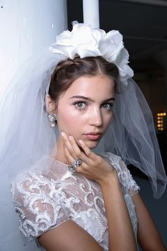 Best of Bridal Fashion Week: Backstage Beauty & Marchesa Wedding Dresses Marchesa Wedding Dress, Marchesa Bridal, Dream Wedding Dresses, Boho Wedding, Marchesa 2016, Wedding Blog, Wedding Veils, Wedding Bride, Marchesa Fashion