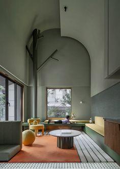 乐贝亲子民宿,四川眉山 / 丰屋·URO设计 - 谷德设计网 Conference Room, Table, China, Furniture, Lounge, Indoor, Home Decor, Architecture, Color