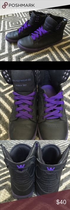 Supra Skytop Men's Hightop Shoe Supra's are black leather & canvas, w/purple shoelaces, logo & inside. great condition (no rips/tears), men's sz. 9.5 Supra Shoes Sneakers