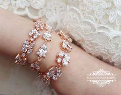 Rose gold bracelet, rose gold CZ, bridal bracelet, cubic zirconia, CZ bracelet, zirkon bracelet, cubic zirconia, zirkon rose gold,