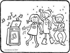 kinderdisco - dansende kinderen - kleurplaat - kleurprent - tekening