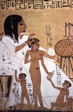 Egito Antigo Fresco de um Pai e Seus Filhos.