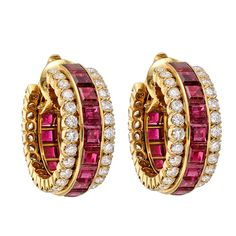 Late 20th Century Van Cleef & Arpels Invisible-Set Ruby & Diamond Hoop Earclips
