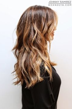 warmer brunette with a mix of highlights #haircolor