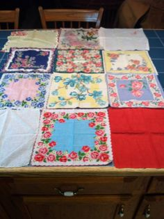 Vintage Hankies Have Found New Life as a Handmade Baby Quilt or Framed For Artwork!   Going to find my Grandma's and frame it!